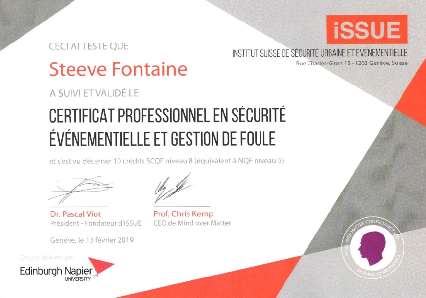 Certificat de formation ISSUE de Steeve Fontaine
